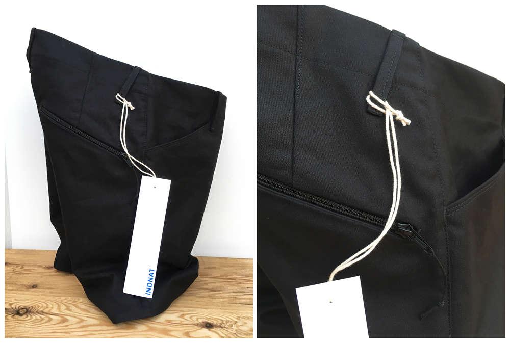 Schwarze Fahrradshort aus Bio Baumwolle mit Zippertasche von INDNAT